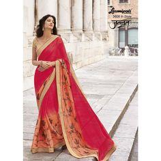 Laxmipati Chiffon Designer Printed Saree in Gajari & Surprise Orange colour