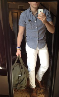 White pants and shirt combo