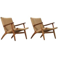 Pair of Hans Wegner Chairs in Oak and Paper Cord