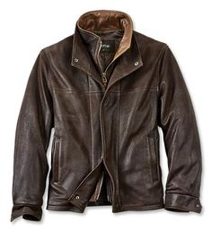 This men's goatskin leather jacket is one of our favorites and it will quickly become one of yours as well. Constructed from rugged yet supple pebble-grained goatskin leather and lined with European satin for a luxurious feel to hand.