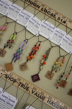 Book Thongs, nice display idea, paper beads good idea