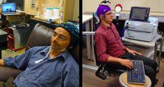 O pesquisador da Universidade de Washington Rajesh Rao enviou um sinal ao cérebro de Andrea Stocco através da Internet, fazendo com que a mão direita de Stocco se movesse num teclado.