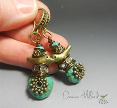 Turquoise Bohemian Style EARRINGS sparrow wren bird turquoise stones handmade Donna Millard beads gift for her mother's day