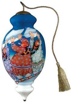 "Ne Qwa Art Glass Christmas Ornament ""Three Sheets to the Wind"""