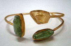 40033 Raw Gemstone Citrine, Kyanite Sterling Silver Bangle , Handmade Raw Jewelry Bangle 18k gold Vermeil Raw Gemstone Bangle