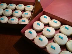 customized [ucla] Sprinkles Cupcakes for evan's medical school white coat ceremony.