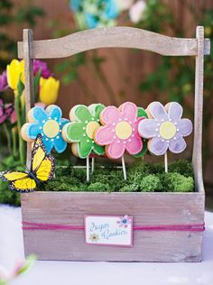 'Planted' cookie pops — super cute way to display!