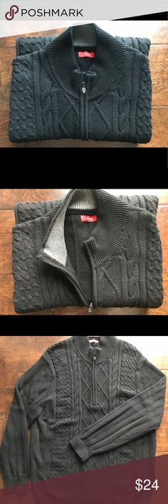 💥Host Pick💥IZOD Men's Half Zip Sweater EUC XL 🎉Host Pick 4/9 🎉Perfect sweater for layering. Polished without sacrificing comfort. My husband wore this once. XL Tall,  black cable knit half-zip. Great condition, no flaws. Easy care. Smoke free home. Izod Sweaters