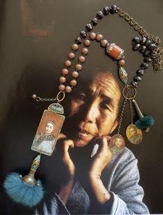 MALA BOHEME VINTAGE D'ESPRIT ASIATIQUE - COLLIER ROSAIRE RÊVES ET SOUVENIRS DE CHINE