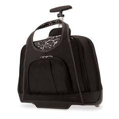 Black laptop bag on wheels for women