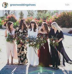Mismatched bridesmaids dresses yay!  @greenweddingshoes