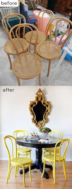 Bright Chair Makeovers - DIY Projects for Renters Love yellow Chair Makeover, Furniture Makeover, Diy Furniture, Chair Redo, Repurposed Furniture, Painted Furniture, Azulejos Diy, Chaise Formica, Diy Roman Shades