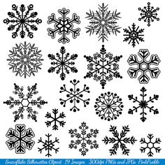 Snowflake Clipart Clip Art, Snowflake Silhouette Clip Art Clipart- Commercial and Personal