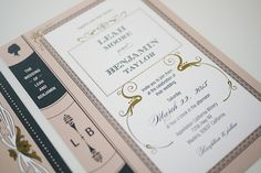 folding book invitations for a literary themed wedding swash and