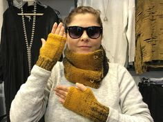 Scarf, Knit Scarf, Winter scarf, Winter Accessories, Boho, Mustard Fingerless gloves and Scarf, Winter gloves and scarf by BosphorusBeads on Etsy