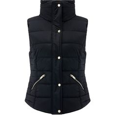 Monsoon Hazel Puffa Gilet (385 BRL) ❤ liked on Polyvore featuring outerwear, vests, sleeveless waistcoat, hooded puffer vests, zip vest, puff vest and padded vest