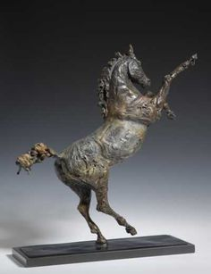 Bronze Horse Sculpture / Equines Race Horses Pack HorseCart Horses Plough Horsess sculpture by artist April Young titled: 'Rearing Horse (Small Prancing bronze statuettes/statues/figurines/art)'