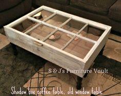 shadow box coffee table - 8 pane shadow box table - beautiful wood