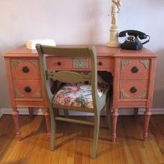 This charming desk and chair combo received a lovely makeover in a color combination of Scandinavian Pink & Chateau Grey Chalk Paint® decorative paint by Annie Sloan | By Stockist Soldier58 of Bordentown, NJ