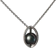 The Osiris pendant by Alexandre Janot with the tahitian black pearl trapped in a sparkling cage of white gold and tiny diamonds.