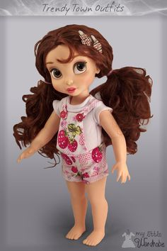 Disney Animator's doll clothes - cute little strawberry patterned overalls and top