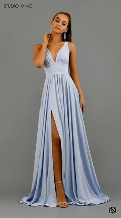 Prom dresses blue - Elegant VNeck Sleeveless Prom Dress Long Evening Gowns WIth Split – Prom dresses blue Split Prom Dresses, Deb Dresses, Pretty Prom Dresses, V Neck Prom Dresses, Prom Dresses Online, Dress Online, Long Formal Dresses, Matric Dance Dresses, Wedding Dresses