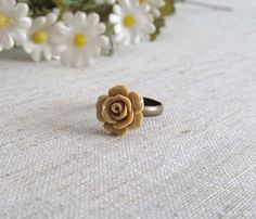 Brown Rose Cabochon Ring  Antique Bronzed by naryaboutique on Etsy, $8.00