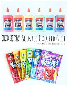 DIY scented colored glue recipe. Have fun creating art and making crafts with your kid's using homemade colored glue!