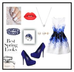 """""""Blue by Jasleen"""" by the7princesses ❤ liked on Polyvore featuring WithChic, Effy Jewelry, Chaps, Lime Crime, Gucci, Links of London and H&M"""