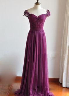 Elegant Purple Sweetheart Long Prom Dresses, Long