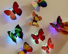 Wall Stickers Butterfly LED Lights Wall Stickers Home Decor home decor living room vinilos paredes Led Decoration, Decoration Stickers, Light Decorations, Wedding Decoration, 3d Butterfly Wall Stickers, Butterfly Wallpaper, Wall Wallpaper, Butterfly Lighting, Butterfly Lamp