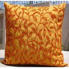 Cítricos - fundas de almohada - 24 x 24 pulgadas almohada de seda cubierta con bordado del grano
