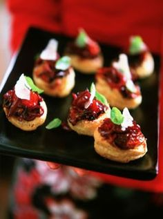 sun-blushed tomatoes, grated Parmesan, basil leaves red onion relish with puff pastry