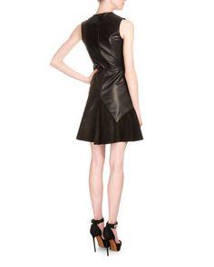W0CWA Givenchy Sleeveless Leather & Suede A-Line Dress, Black
