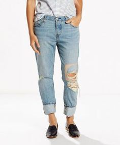 Levi's 501 Ct Customized Tapered Boyfriend Jeans - Blue 24 (US R Rolled Jeans, All Jeans, Torn Jeans, Cuffed Jeans, Pink Jeans, Women's Jeans, Jeans For Tall Women, Tall Men, Ripped Boyfriend Jeans