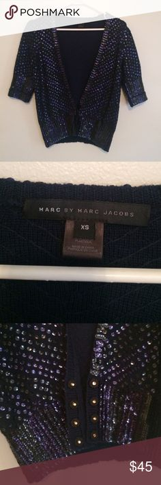 Marc by Marc Jacobs Sequined Top Perfect condition. No sequins missing. 100% Wool. XS but would fit S and M Marc by Marc Jacobs Sweaters V-Necks