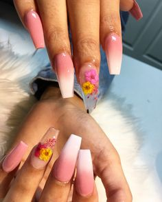 Hey💛‼️ If you like what you see,follow me for more‼️PIN: dominiquemae390✨ & On my IG: only1_queenk❤️ • •  And if anyone wants to start streaks my SC is @only_queenk16 send me a snap saying Pinterest brought me and we can become friends😘😘 Long Acrylic Nails, Acrylic Gel, Acrylic Nail Designs, Nail Art Designs, Coffin Nails, Gel Nails, Henna Tattoos, Flower Nails, Spring Nails
