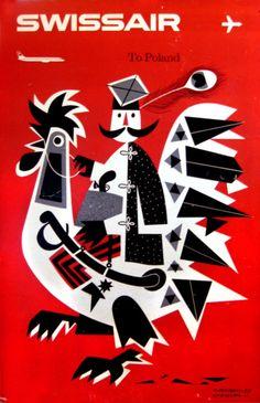 To Poland Swissair by Witold Janowski, 1959