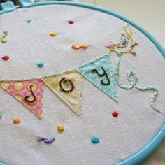 Joy bunting embroidery hoop