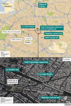 """The near-simultaneous attacks in Paris that killed nearly 130 people were an """"act of war"""" organised by the Islamic State militant group, French President Francois Hollande says. He said the attacks, carried out by eight gunmen and suicide bombers, were """"organised and planned from outside"""". The targets included bars, restaurants, a concert and a high-profile football match. IS claimed the attacks. Mr Hollande has declared three days of national mourning."""