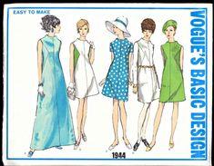 Vintage Vogue 1960s Basic Design Pattern 1944, Size 12 Dress   AtticClosetVintage - Supplies on ArtFire