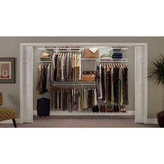 *Kit Of The Week* - Discounted to until July create wardrobe, spare room, walk in closet or utility storage space in areas from 7 wide - 10 wide spaces! Wire Closet Shelving, Shoe Shelves, Custom Walk In Closets, White Closet, Clothes Rail, Closet System, Master Closet, Master Bedroom, Custom Lighting