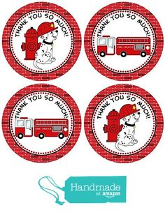 Firefighter Thank You Favor Sticker Labels - Fire Truck Dalmatian Birthday Party Favors - Set of 30 @adorebynat