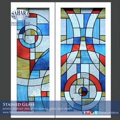 New design for Door inserts textured and colored stained glass