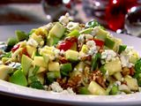 Chopped Apple Salad with Toasted Walnuts, Blue Cheese and Pomegranate Vinaigrette  http://www.foodnetwork.com/recipes/bobby-flay/chopped-apple-salad-with-toasted-walnuts-blue-cheese-and-pomegranate-vinaigrette-recipe/index.html