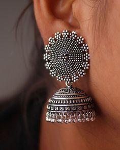 Jaipur Mart Oxidized Silver Plated Jhumki Earrings for Women Indian Jewelry Earrings, Indian Jewelry Sets, Jhumki Earrings, Silver Jewellery Indian, Jewelry Design Earrings, Gold Earrings Designs, Ear Jewelry, Silver Jewelry, Silver Ring