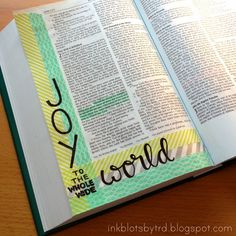 Ink Blots by TRD: Bible Journaling. Joy to the world with washi