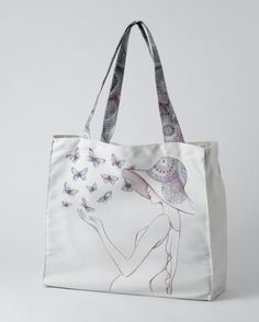 A28227 Style & Gracie Butterflies Tote Bag- This canvas tote bag featuring Gracie surrounded by butterflies, with coordinating straps is a generous size, this tote bag will be the perfect partner for any shopping trip #Bag #Style #enesco