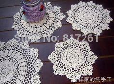 Livraison gratuite 20 - 38 cm 12 pic / lot coton crochet dentelle napperons pour la décoration intérieure feutre pour le mariage coupe pads napperon serviette tapis de feutre