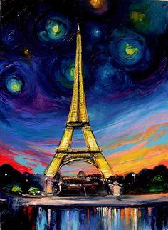 "Eiffel X  30x40"" oil on canvas  Available - https://www.etsy.com/listing/109927984/landscape-painting-eiffel-tower-art"